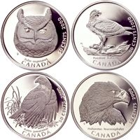 2000 Canada 50-cent Birds of Prey Proof 4-coin (may be lightly toned)