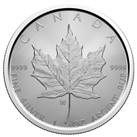 2021 $5 Silver Maple Leaf with W Mint Mark Coin