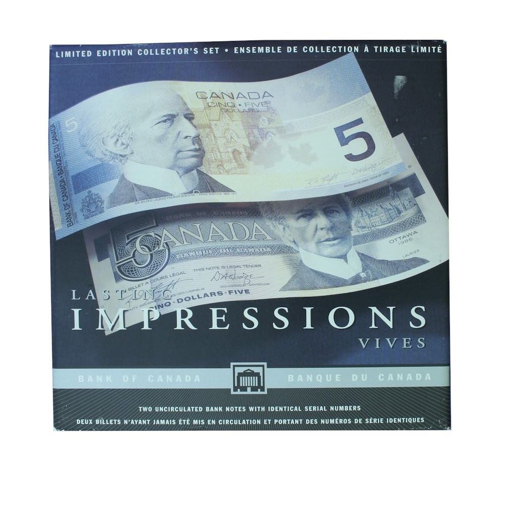 Lasting Impression $5 Set issued by the Bank of Canada. Please note ...