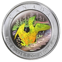 2002 Canada $5 Loon Hologram Silver Maple Leaf Loon Coin (No Tax) -