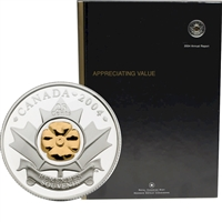 2004 Canada RCM Annual Report with Gold Plated Silver Poppy 25-cent