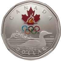 2004 Canada Proof Sterling Silver Coloured Lucky Loon Dollar.