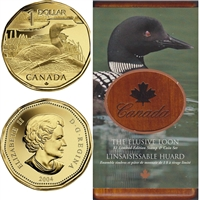 2004 Canada Elusive Loon Dollar Coin and Stamp Set (scuffed sleeve)