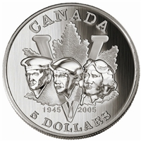 2005 Canada $5 End of WWII 60th Anniversary Fine Silver (No Tax)
