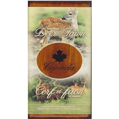 2005 Canada $5 Deer & Fawn Coin And Stamp Set.