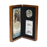 2005 Canada $5 Walrus & Calf Coin And Stamp Set (No Tax) scuffed sleeve