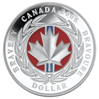 2006 Canada Enamel Proof Silver Dollar Medal of Bravery (TAX Exempt)