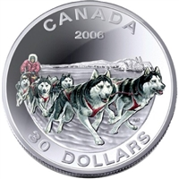 2006 Canada $30 Dog Sled Team Sterling Silver Coin.