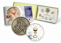 2007 Canada Baby Sterling Silver Proof Set w/ Gold Plated Dollar (bent sleeve)