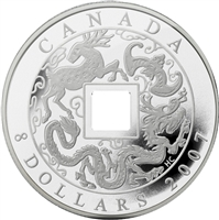 RDC 2007 Canada $8 Fine Silver Chinese Square Hole Coin (No Tax) Impaired