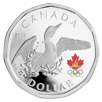 2008 Canada Olympic $1 Sterling Silver Lucky Loonie