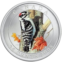2008 25-cent Birds of Canada - Downy Woodpecker