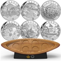 2015 $10 Canoe Across Canada 6-coin Set & Canoe Shaped Box (No Tax) Missing Box