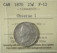 1870 Canada 25-Cents ICCS Certified F-12 Obverse 1