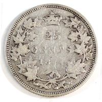 1871 Obv. 1 Canada 25-cents Very Good (VG-8) $