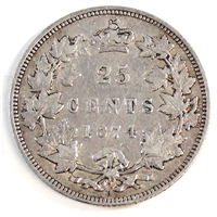 1874H Canada 25-cents F-VF (F-15)