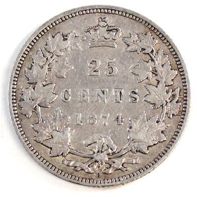 1874H Canada 25-cents F-VF (F-15) $