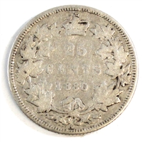 1880H Narrow 0 Canada Over Wide 0 25-cents Very Good (VG-8) $