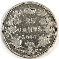 1880H Wide 0 Canada 25-cents F-VF (F-15) $