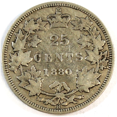 1880H Wide 0 Canada 25-cents VG-F (VG-10) $