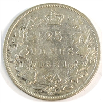 1881H Canada 25-cents Fine (F-12) $
