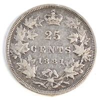 1881H Canada 25-cents F-VF (F-15) $
