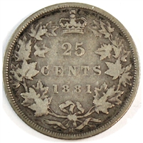 1881H Canada 25-cents VG-F (VG-10) $