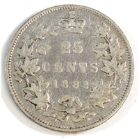 1882H Canada 25-cents Fine (F-12) $