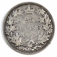 1885 Curved Top 5 Canada 25-cents F-VF (F-15) $