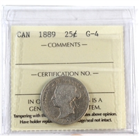 1889 Canada 25-cents ICCS Certified G-4