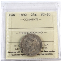 1892 Canada 25-Cents ICCS Certified VG-10