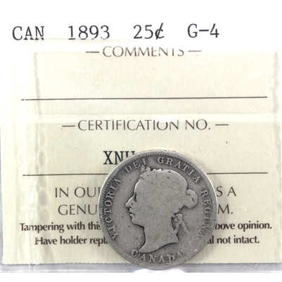 1893 Canada 25-cents ICCS Certified G-4