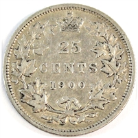 1900 Canada 25-cents F-VF (F-15)