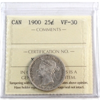 1900 Canada 25-cents ICCS Certified VF-30