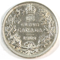 1902H Canada 25-cents Almost Uncirculated (AU-50)