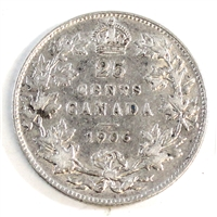 1906 Canada 25-cents Very Fine (VF-20)
