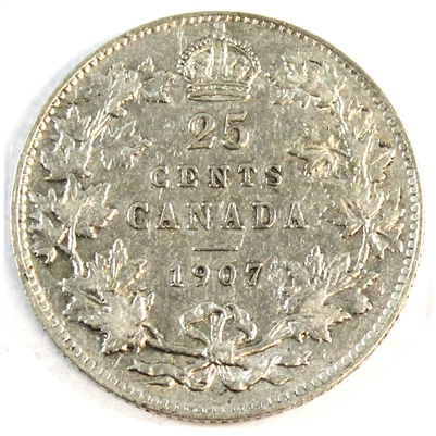 1907 Canada 25-cents Very Fine (VF-20) $