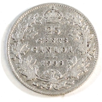 1908 Canada 25-cents VG-F (VG-10)