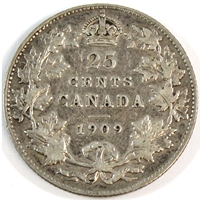 1909 Canada 25-cents F-VF (F-15)