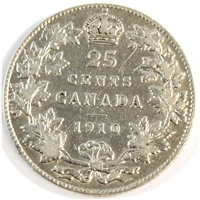 1910 Canada 25-cents Very Fine (VF-20) $