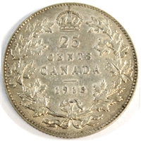 1913 Canada 25-cents Extra Fine (EF-40) $