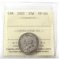 1921 Canada 25-Cents ICCS Certified VF-20