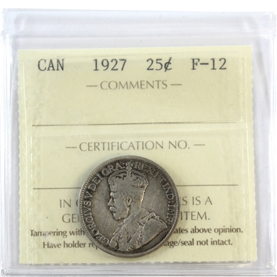 1927 Canada 25-cents ICCS Certified F-12
