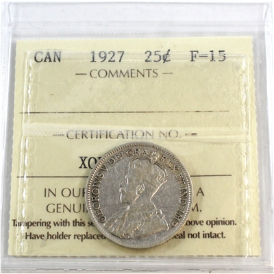 1927 Canada 25-cents ICCS Certified F-15
