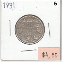 1931 Canada 25-cents Good (G-4)