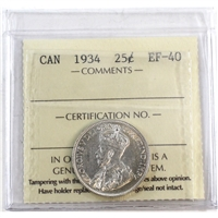 1934 Canada 25-Cents ICCS Certified EF-40