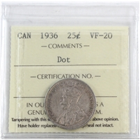 1936 Dot Canada 25-Cents ICCS Certified VF-20