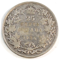 1936 Dot Canada 25-cents VG-F (VG-10)