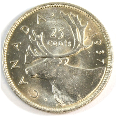 1937 Canada 25-cents Choice Brilliant Uncirculated (MS-64) $