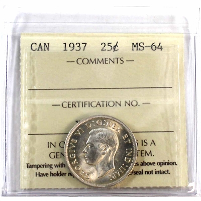 1937 Canada 25-cents ICCS Certified MS-64 (XMU 349)